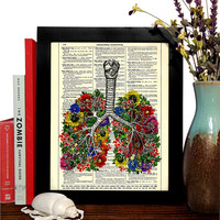 Lungs With Flowers Anatomical Vintage Book Print, Eco Friendly Home, Dorm, Bathroom, Office Decor, Dictionary Book Print Buy 2 Get 1 FREE