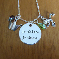 "Princess and the Frog Inspired Necklace. ""je t'adore je t'aime"". Love necklace. French necklace. Swarovski Elements crystals."