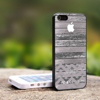 Apple Logo Vintage Wood Chevron - For iPhone 4,4S Black Case Cover