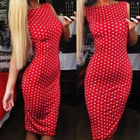 Red Polka Boat-Neck Pencil Dress