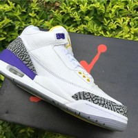 Air Jordan 3 nike logo white purple  Basketball Shoes 40-47