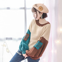 Mori Girl 2016 Autumn New Women Sweater Cotton Pullover Lantern Sleeve Solid Original Casual Kawaii Lolita Patchwork Full Sleeve