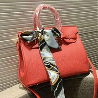 Hermes Classic Popular Women Shopping Leather Handbag Tote Shoulder Bag Crossbody Satchel Red