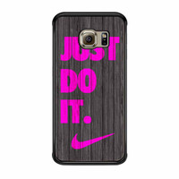 Nike Just Do It Wood Colored Darkwood Wooden Pink Samsung Galaxy S6 Edge Case