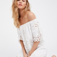 Free People Battenburg Off-The-Shoulder Mini Dress