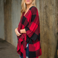 Dare To Contrast Cardigan, Red-Black