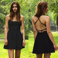 Fashion Casual Backless Strap High Waist Dress