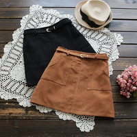 Womens Suede Mini Skirt