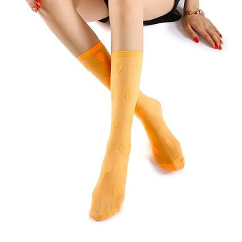 Marella Polka Sheer Mid High Sock | Neon Orange