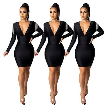 fhotwinter19 Hot sale women's casual fashion solid color deep V-neck striped diamond tassel long sleeve dress