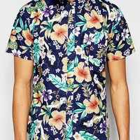 Bellfield Short Sleeve Shirt with All Over Floral Print