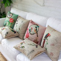 """MagicPieces Cotton and Flax Decorative Pillow Case Pillow Cover Case 18"""" x 18"""" Square Shape Butterfly and Rose A"""