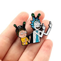 Classic Cartoon Rick and Morty Brooch icons Style Enamel Shirt Denim Jacket lapel pin Badge Buttons Brooches For Wome Trinkets