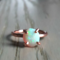 Raw Opal Engagement Ring, Opal Ring, Valentines Day Gift for Women, October Birthstone Ring, Birthday for Her, Girlfriend Ring