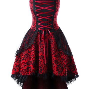 Atomic Plus Size Red Vintage Goth Corset Inspired Dress