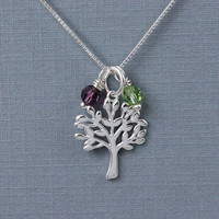 Tree of life necklace with Swarovski birthstones 925 sterling silver, family necklace, birthday gift for grandma, Christmas gift for mom