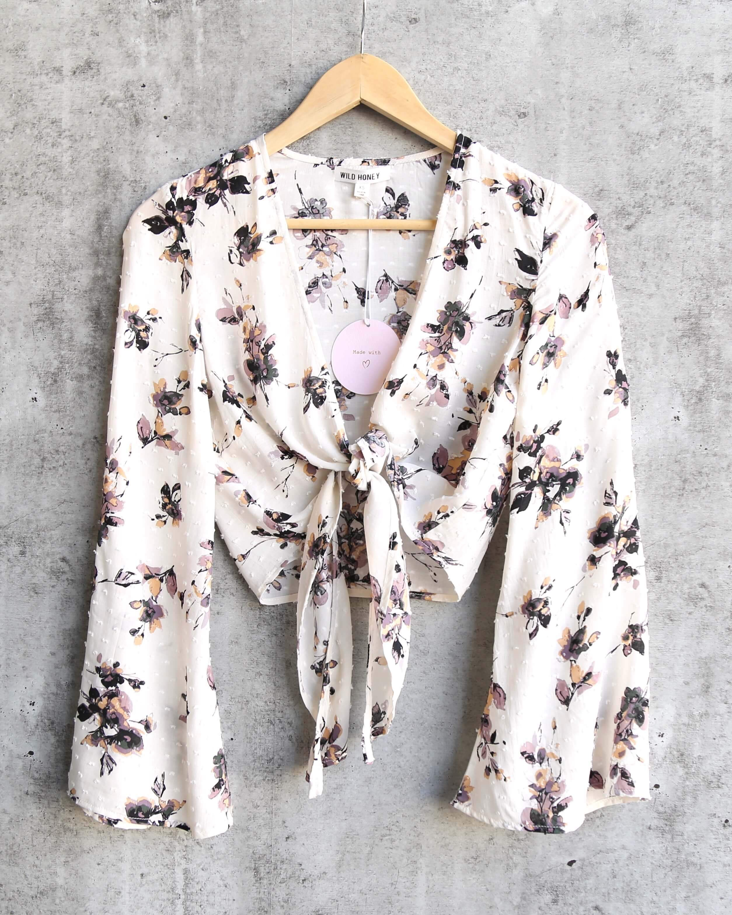 Image of FINAL SALE - Wild Honey - Long Sleeve Floral Crop Top with Waist Tie in Ivory