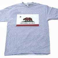 California Republic Flag Cotton T-Shirt - (Various Colors & Sizes)