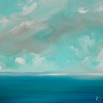 Original Painting Seascape Abstract Coastal Blue 20 x 24 Coastal Waves Ocean Landscape Modern Art Contemporary Painting Stretched Canvas