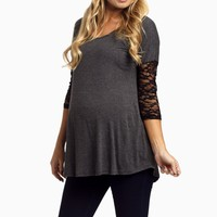 Charcoal-Lace-Sleeve-Maternity-Top