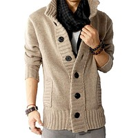 Hot Sale Mens New Casual Slim Fit Polo Cardigan Thick Button Knitted Shawl Collar Sweater