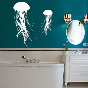 Jellyfish Wall Decal Sea Ocean Animal Vinyl Stikers Art Mural Home Living Room Decals For Bathroom Spa Decor Nautical Interior Design KY30