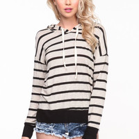 STRIPED JERSEY PULLOVER HOODIE