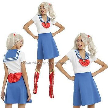 Licensed cool Sailor Moon Blue & White Fit & Flare Skater Costume Cosplay Dress Red Heart Bow