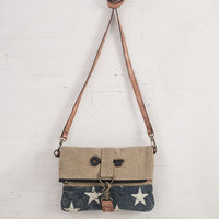 MONA B RECYCLED CANVAS STARDUST FOLD-OVER ECOFRIENDLY CROSSBODY BAG PURSE