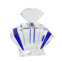 Appealing  Crystal Perfume Bottle, Blue And Clear -Sagebrook Home By Casagear Home
