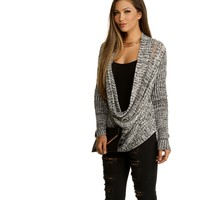 White Early Black Cowl Sweater.