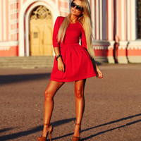 Pleated 3/4 Sleeve Dress