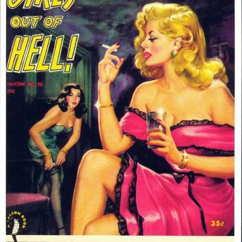 Girls Out of Hell 11x17 Retro Book Cover Poster