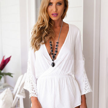 Deep V-Neck Long Sleeve with Lace Patchwork Romper