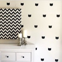 60pcs 5cm cute cat face PVC wall sticker removable decal sticker for baby room bed back ground wall decoration