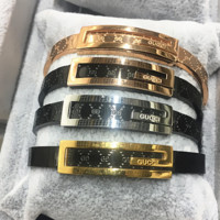 Gucci cute shining titanium steel plated with 18k rose gold male and female couple bracelet tidal bracelet