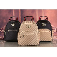 Gucci New Letter Full Printed Backpack with Golden GG Logo Fashion Backpack Medium