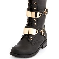 ID TAG BUCKLED COMBAT BOOTIE