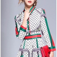 GUCCI New fashion stripe more letter print slim fit long sleeve long dress women