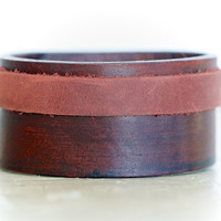 Dual Leather Urban Rustic Cuff - Two toned Bracelet - Gift for Him - Hip - Unique Gift