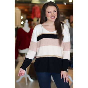 {Pink} Shimmering Stripes Sweater