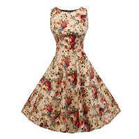 Women Summer Sleeveless Dress 2016 New Vintage Retro Style Crew Neck Solid Color/Dot/Floral Print 50s 60s Party Swing Dresses
