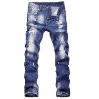 new casual style mens knee patch jeans blue distressed skinny jeans men 2017 urban star trousers for men jeans slim fit