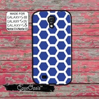 Blue Hexagon Pattern Cool Cute Retro Look For Custom Galaxy S5 and S4 and S3 Case and Galaxy Note 2 and Note 3 Case