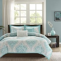 Full / Queen size 5-Piece Damask Comforter Set in Light Blue White and Grey