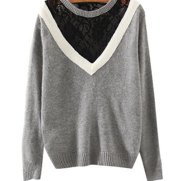 Grey Lace And Mesh Sweatshirt