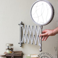 Double Sided Mirror With Accordion Wall Bracket