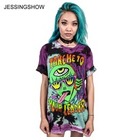 JESSINGSHOW Summer Women T-Shirt Female Fashion Loose T Shirt Plus Size Short Sleeve Woman O-neck Tops 3D Alien Printing