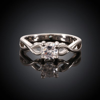 Twist White Gold Plated Ring