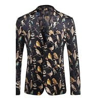 Blazer Men Famous Men Floral Blazer Fashion Printed Casual Suit Slim Fit Stage Jacket Prom Blazers